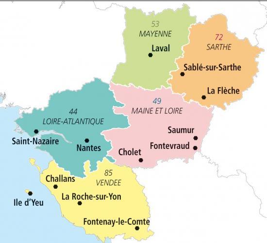 Carte pays de la loire departements